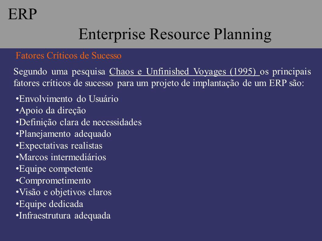 Segundo uma pesquisa Chaos e Unfinished Voyages (1995) os principais fatores críticos de sucesso para um projeto de implantação de um ERP são: Fatores