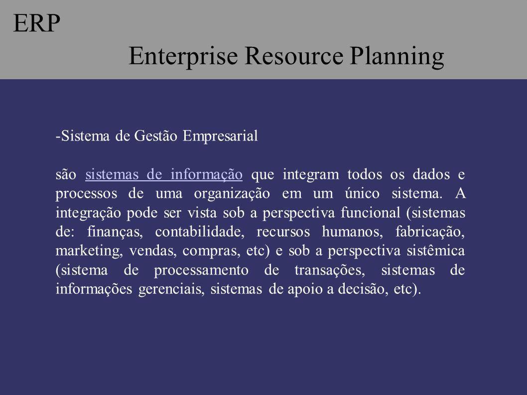 ERP Enterprise Resource Planning -Sistema de Gestão Empresarial são sistemas de informação que integram todos os dados e processos de uma organização