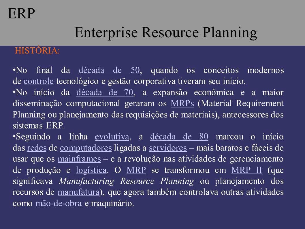 ERP Enterprise Resource Planning HISTÓRIA: No final da década de 50, quando os conceitos modernos de controle tecnológico e gestão corporativa tiveram