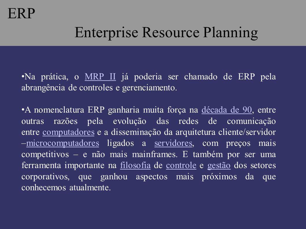 Enterprise Resource Planning -Termo ERP foi cunhado em 1990 -Primeiro modelo para a próxima geração do MRP II (Manufacturing Resources Planning), Então: ERP é um sistema integrado evoluído do MRPII.