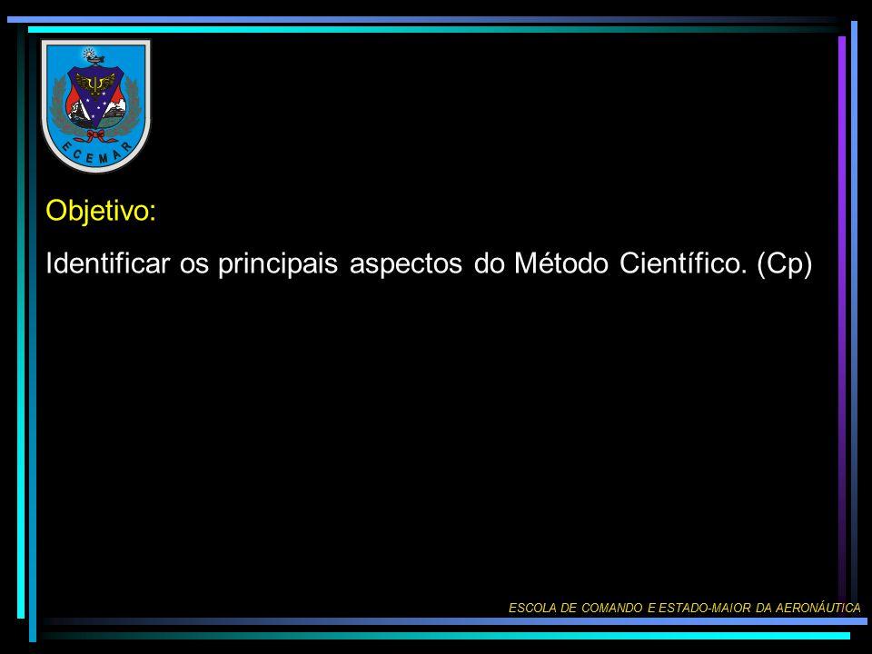 Objetivo: Identificar os principais aspectos do Método Científico. (Cp) ESCOLA DE COMANDO E ESTADO-MAIOR DA AERONÁUTICA