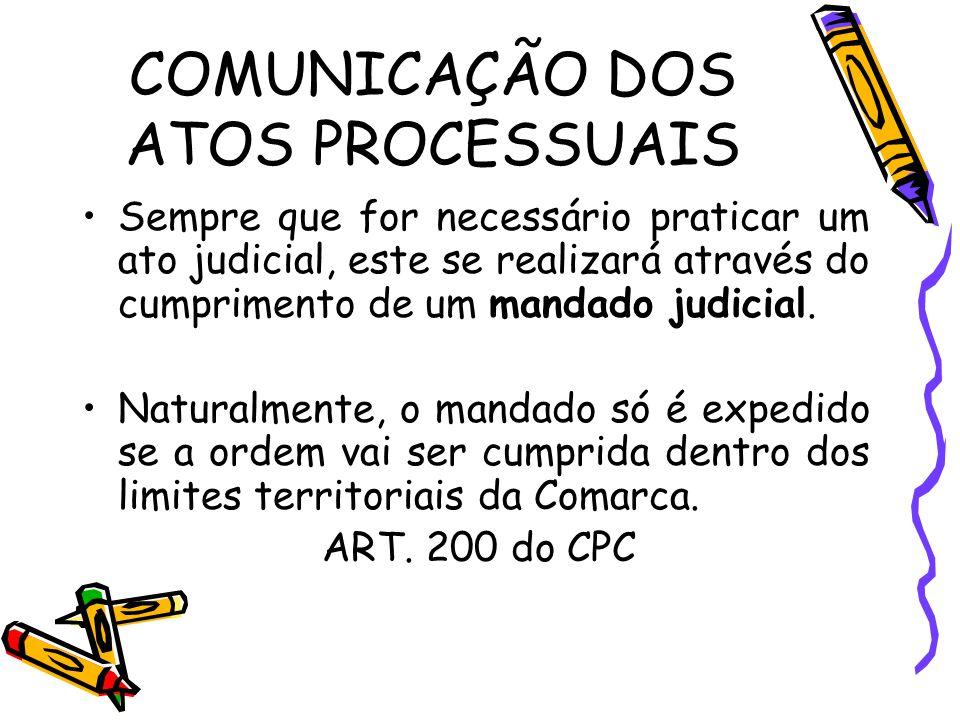COMUNICAÇÃO DOS ATOS PROCESSUAIS Sempre que for necessário praticar um ato judicial, este se realizará através do cumprimento de um mandado judicial.