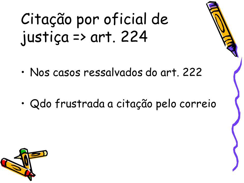 Citação por oficial de justiça => art. 224 Nos casos ressalvados do art. 222 Qdo frustrada a citação pelo correio
