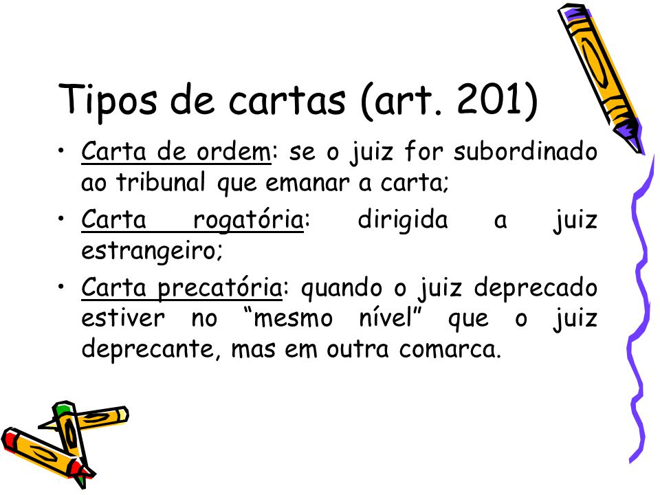 Requisitos essenciais das cartas (art.