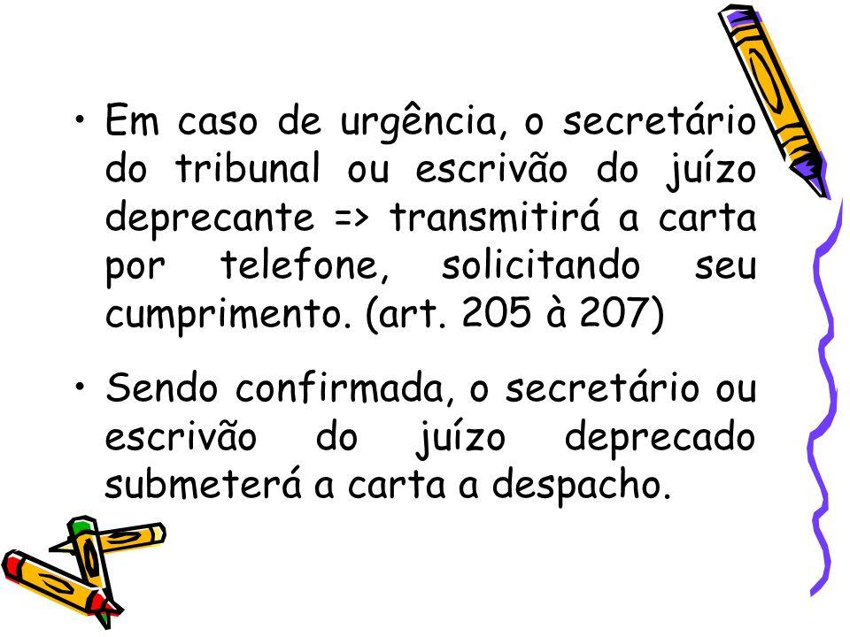 Em caso de urgência, o secretário do tribunal ou escrivão do juízo deprecante => transmitirá a carta por telefone, solicitando seu cumprimento. (art.