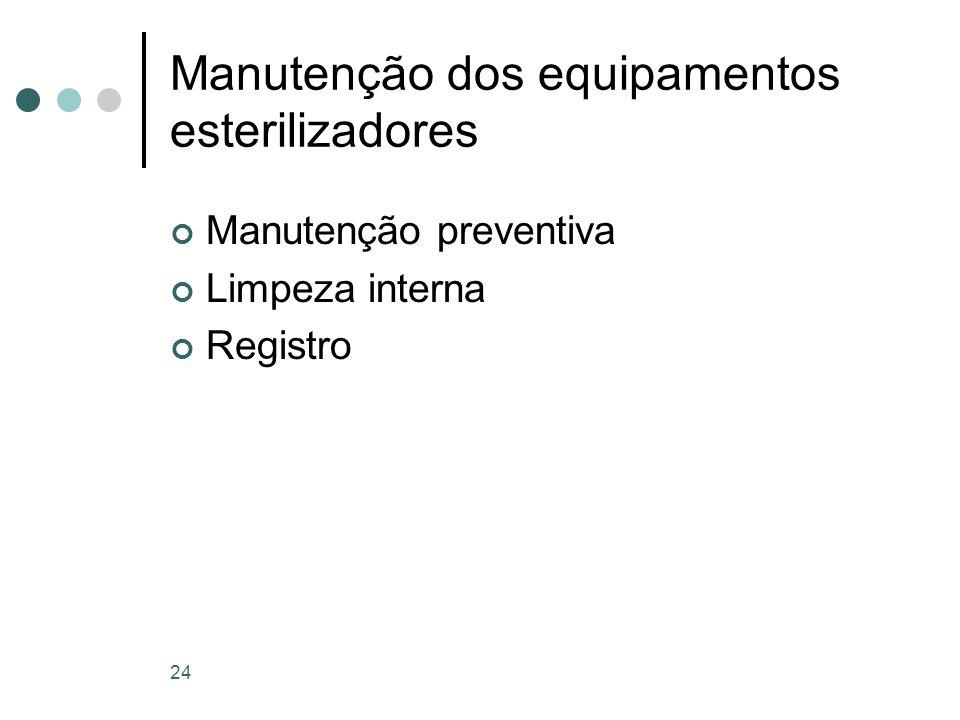 Manutenção dos equipamentos esterilizadores Manutenção preventiva Limpeza interna Registro 24