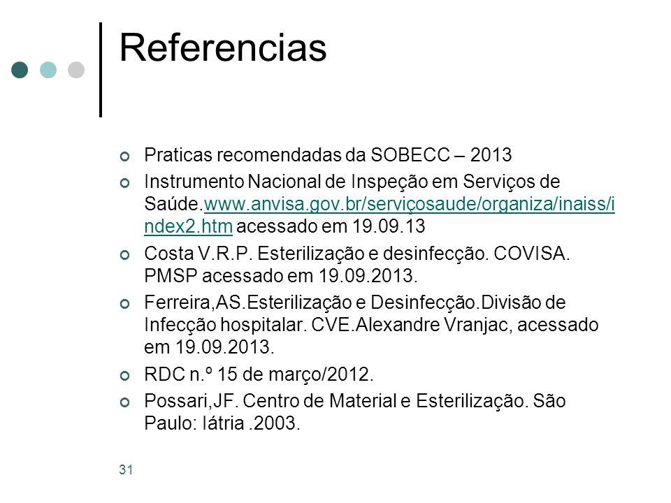 31 Referencias Praticas recomendadas da SOBECC – 2013 Instrumento Nacional de Inspeção em Serviços de Saúde.www.anvisa.gov.br/serviçosaude/organiza/in