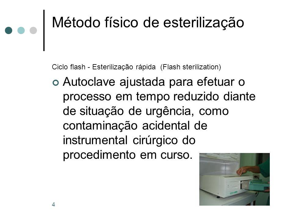 4 Método físico de esterilização Ciclo flash - Esterilização rápida (Flash sterilization) Autoclave ajustada para efetuar o processo em tempo reduzido