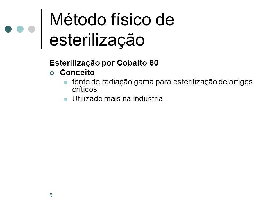 5 Método físico de esterilização Esterilização por Cobalto 60 Conceito fonte de radiação gama para esterilização de artigos críticos Utilizado mais na