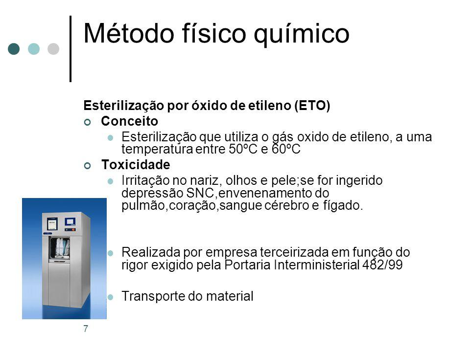 Método físico químico Esterilização por óxido de etileno (ETO) Parâmetros do processo Tempo – temperatura – umidade relativa – concentração dos gases Temperatura 37º.C a 60º.C Ciclo de 1 a 6 horas AERAÇÃO = 8 a 12 horas Monitoramento do processo Eficácia do equipamento Registro dos parâmetros Indicadores químicos externos e internos Indicadores biológico 8