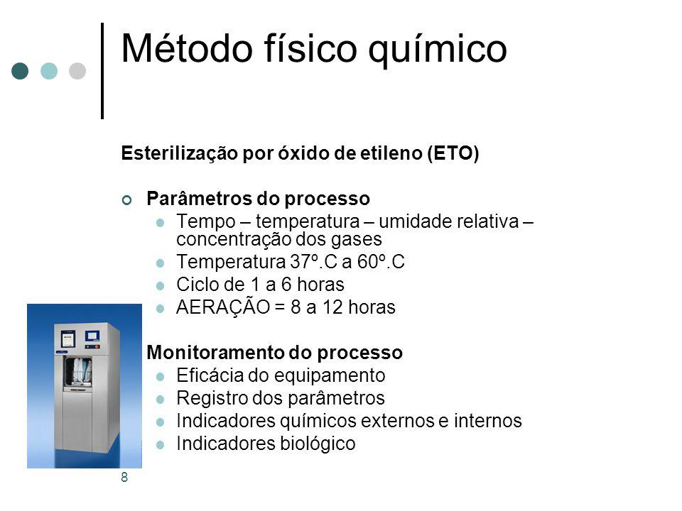 Método físico químico Esterilização por vapor de baixa temperatura e formaldeído gasoso (VBTF) Conceito esterilização realizada por meio da combinação de solução de formaldeído com vapor saturado, a uma temperatura entre 50ºC e 78ºC Toxicidade = irritação da conjuntiva,mucosas, cefaléia e fadiga,pneumonia,edema pulmonar e hepatite tóxica 9