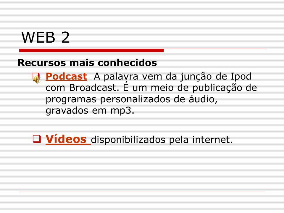 WEB 2 Recursos mais conhecidos Podcast A palavra vem da junção de Ipod com Broadcast.