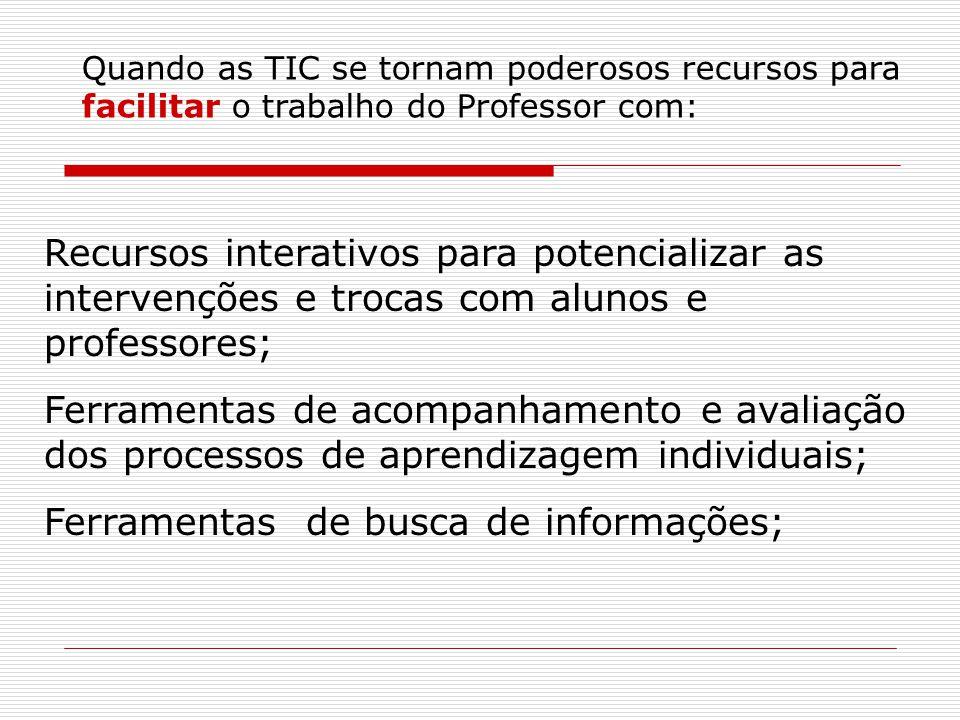 Quando as TIC se tornam poderosos recursos para facilitar o trabalho do Professor com: Recursos interativos para potencializar as intervenções e troca