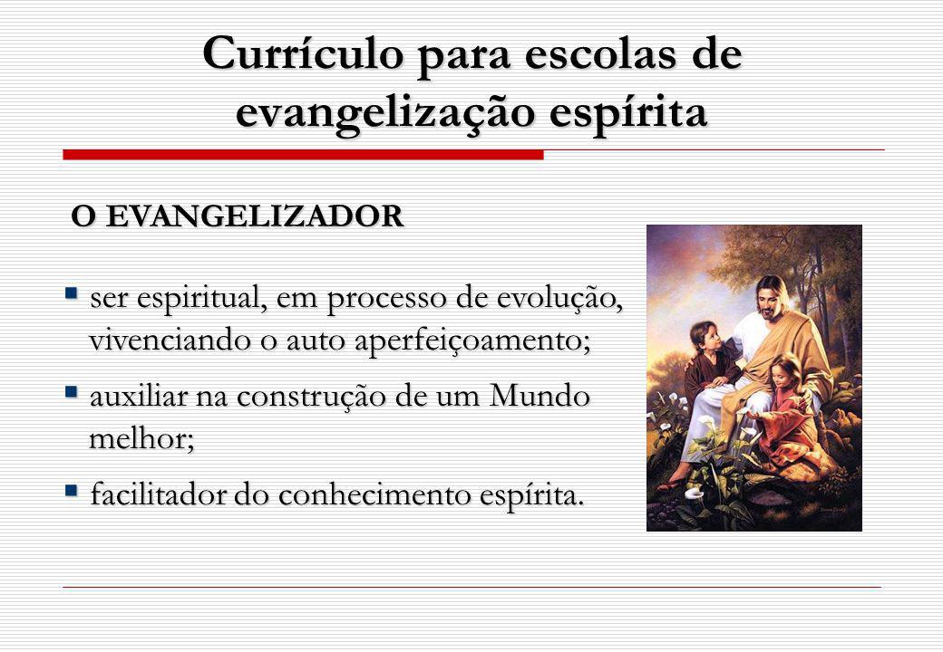 Currículo para escolas de evangelização espírita O EVANGELIZADOR ser espiritual, em processo de evolução, ser espiritual, em processo de evolução, viv