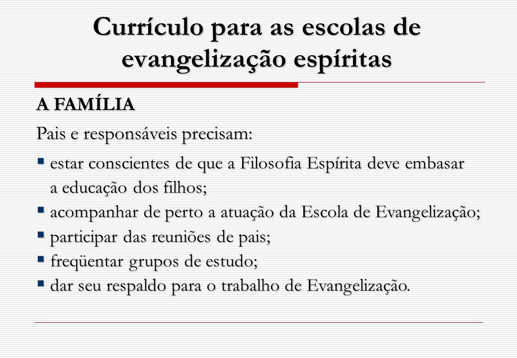 Currículo para as escolas de evangelização espíritas A FAMÍLIA Pais e responsáveis precisam: estar conscientes de que a Filosofia Espírita deve embasa
