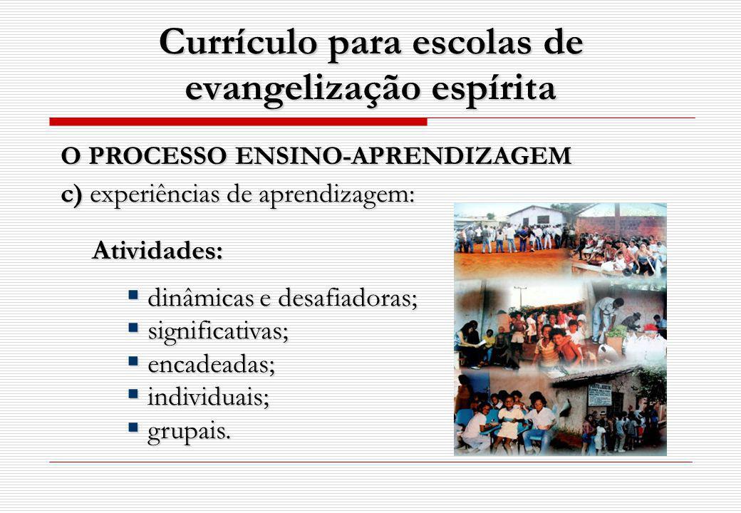 Currículo para escolas de evangelização espírita Atividades: dinâmicas e desafiadoras; dinâmicas e desafiadoras; significativas; significativas; encadeadas; encadeadas; individuais; individuais; grupais.