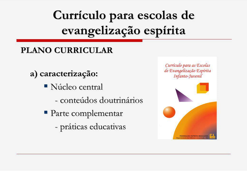 Currículo para escolas de evangelização espírita PLANO CURRICULAR a) caracterização: a) caracterização: Núcleo central Núcleo central - conteúdos doutrinários Parte complementar Parte complementar - práticas educativas