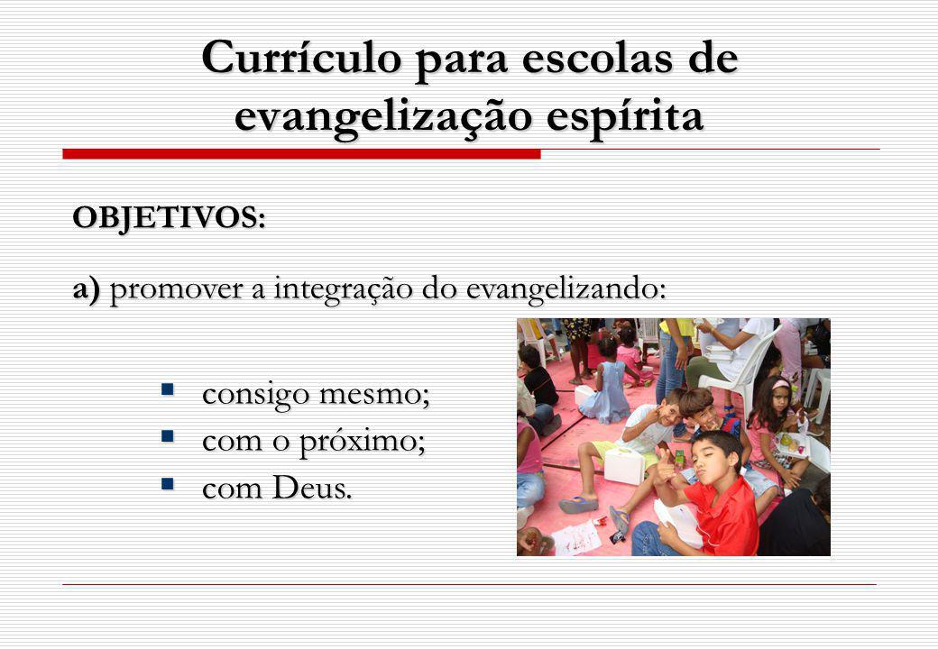 Currículo para escolas de evangelização espírita OBJETIVOS: a) promover a integração do evangelizando: consigo mesmo; consigo mesmo; com o próximo; co