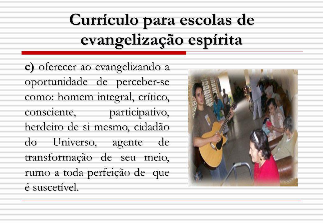 c) oferecer ao evangelizando a oportunidade de perceber-se como: homem integral, crítico, consciente, participativo, herdeiro de si mesmo, cidadão do