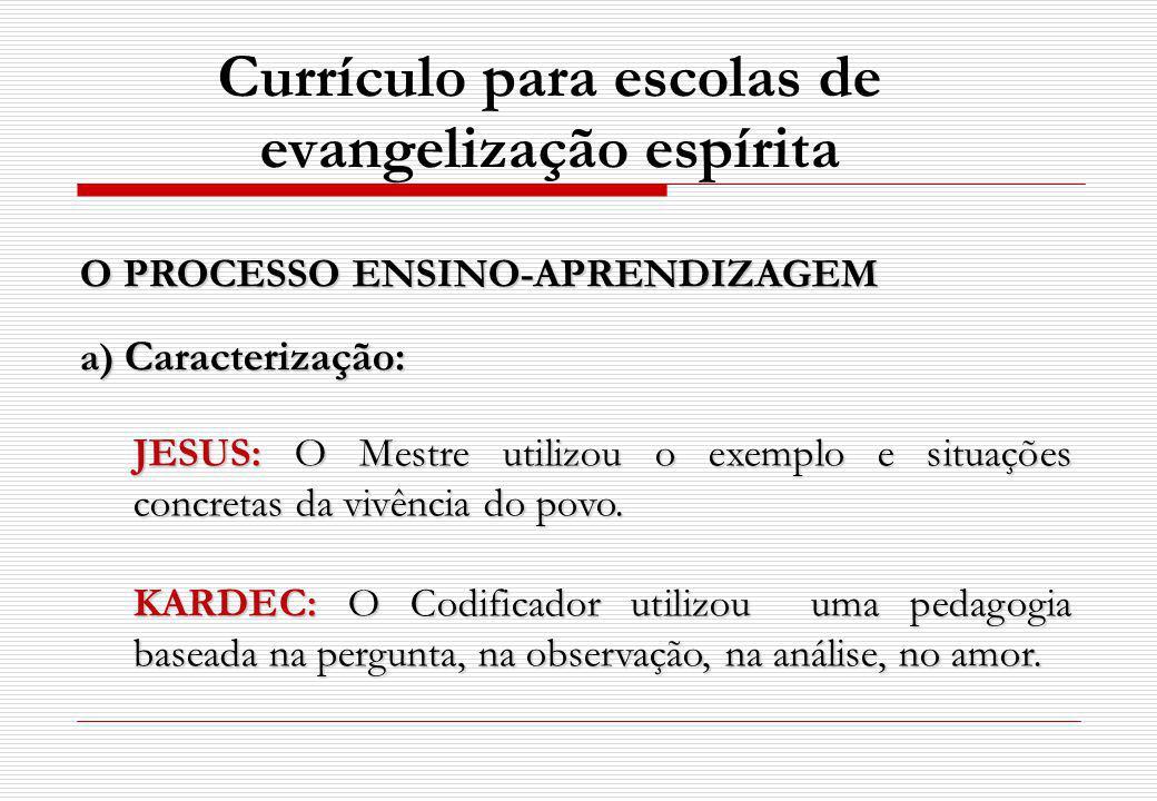 O PROCESSO ENSINO-APRENDIZAGEM a) Caracterização: JESUS: O Mestre utilizou o exemplo e situações concretas da vivência do povo. KARDEC: O Codificador