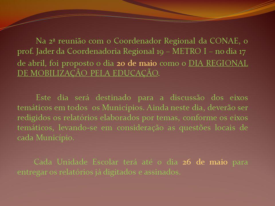 Na 2ª reunião com o Coordenador Regional da CONAE, o prof. Jader da Coordenadoria Regional 19 – METRO I – no dia 17 de abril, foi proposto o dia 20 de