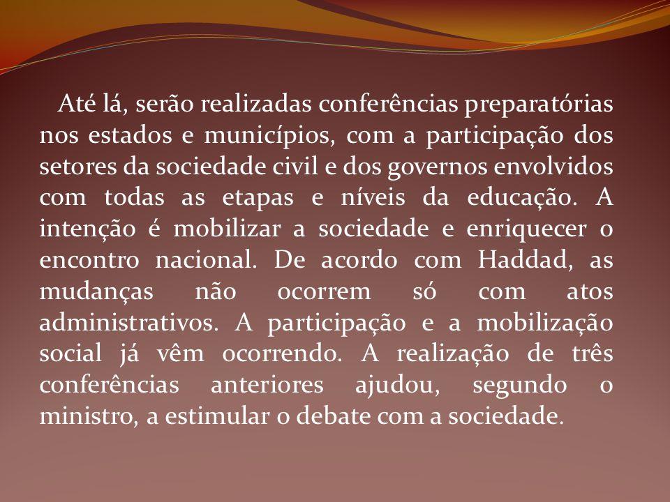Até lá, serão realizadas conferências preparatórias nos estados e municípios, com a participação dos setores da sociedade civil e dos governos envolvi