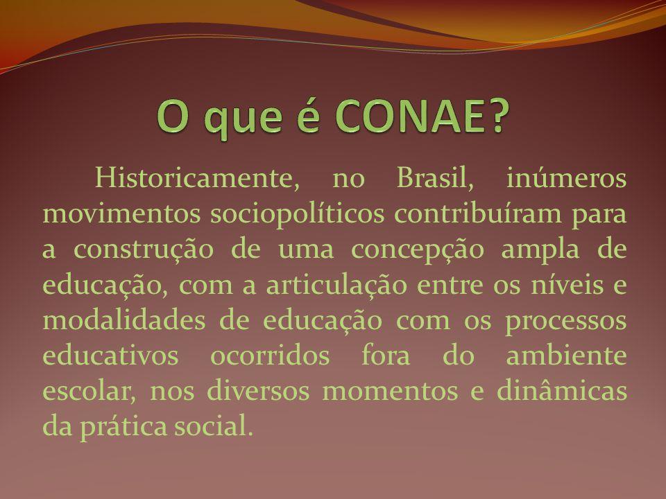 Historicamente, no Brasil, inúmeros movimentos sociopolíticos contribuíram para a construção de uma concepção ampla de educação, com a articulação ent