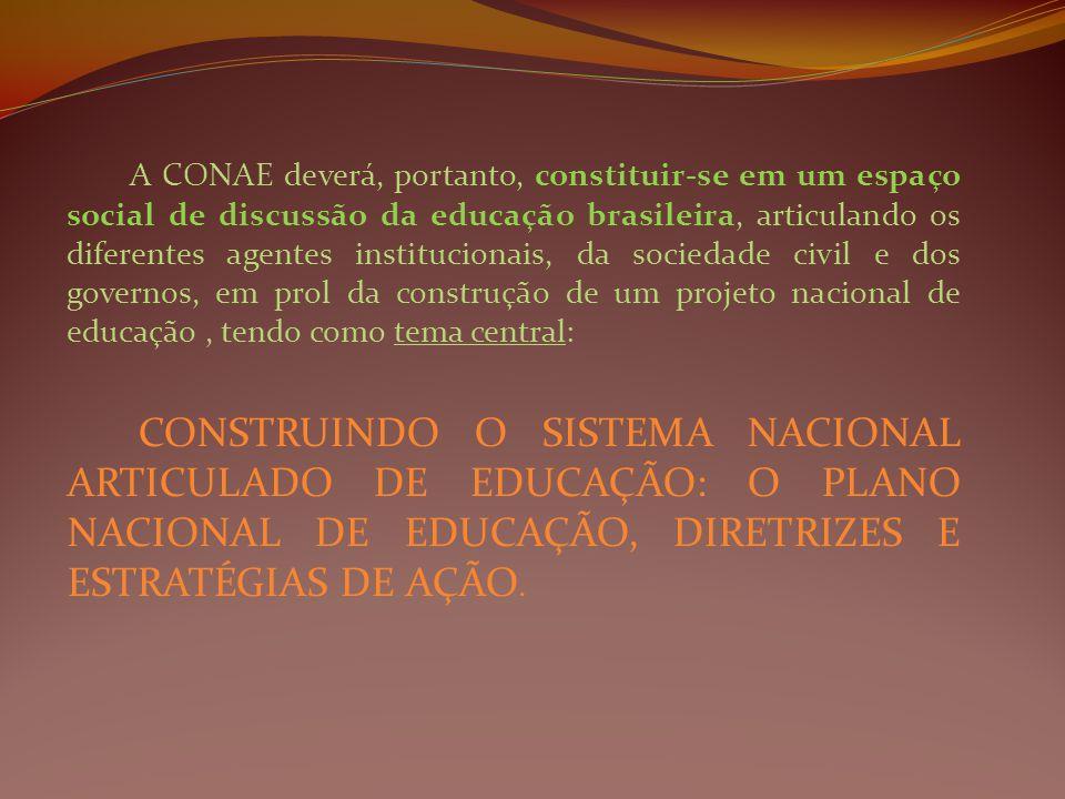 A CONAE deverá, portanto, constituir-se em um espaço social de discussão da educação brasileira, articulando os diferentes agentes institucionais, da