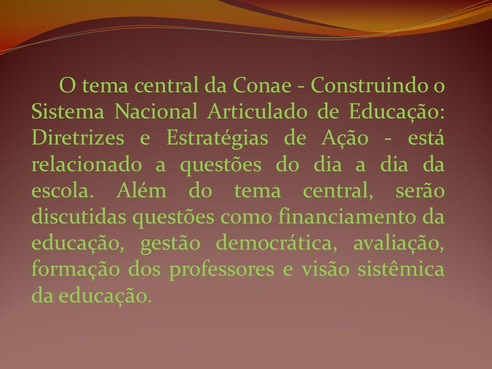 O tema central da Conae - Construindo o Sistema Nacional Articulado de Educação: Diretrizes e Estratégias de Ação - está relacionado a questões do dia