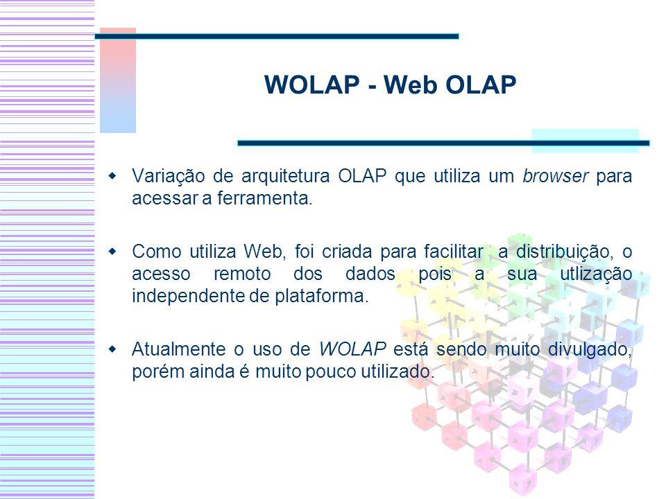 WOLAP - Web OLAP Variação de arquitetura OLAP que utiliza um browser para acessar a ferramenta. Como utiliza Web, foi criada para facilitar a distribu