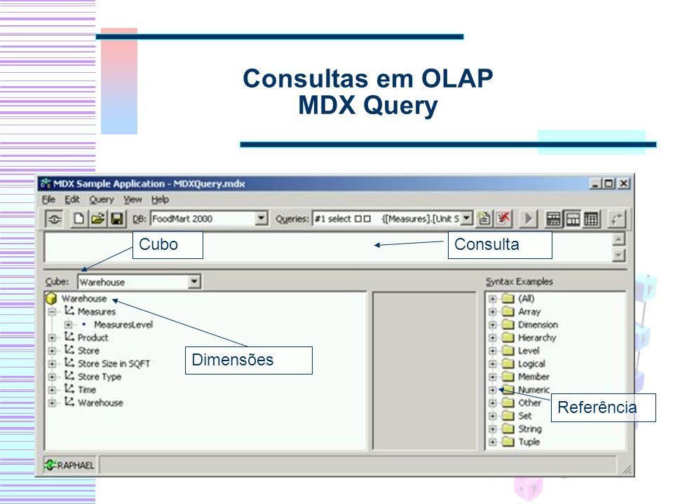 Consultas em OLAP MDX Query Cubo Dimensões Consulta Referência