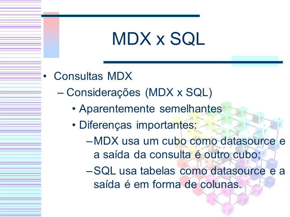 MDX x SQL Consultas MDX –Considerações (MDX x SQL) Aparentemente semelhantes Diferenças importantes: –MDX usa um cubo como datasource e a saída da con