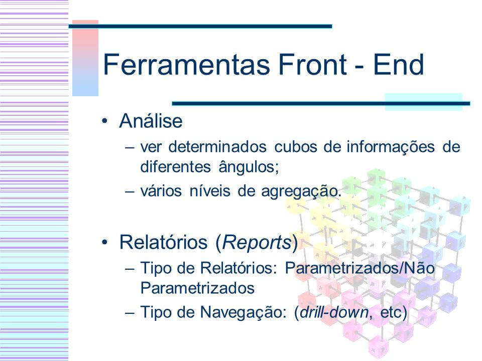 Ferramentas Front - End Análise –ver determinados cubos de informações de diferentes ângulos; –vários níveis de agregação. Relatórios (Reports) –Tipo