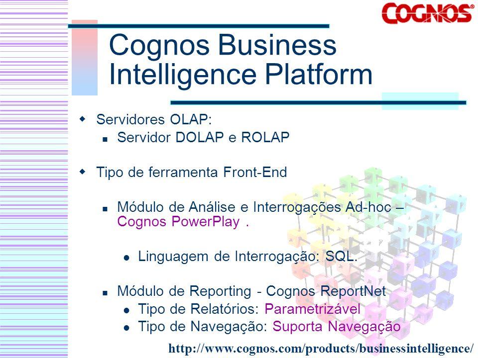 Cognos Business Intelligence Platform Servidores OLAP: Servidor DOLAP e ROLAP Tipo de ferramenta Front-End Módulo de Análise e Interrogações Ad-hoc –