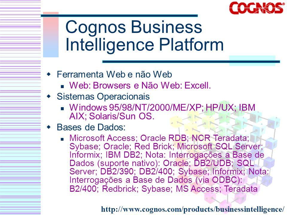 Cognos Business Intelligence Platform Ferramenta Web e não Web Web: Browsers e Não Web: Excell. Sistemas Operacionais Windows 95/98/NT/2000/ME/XP; HP/