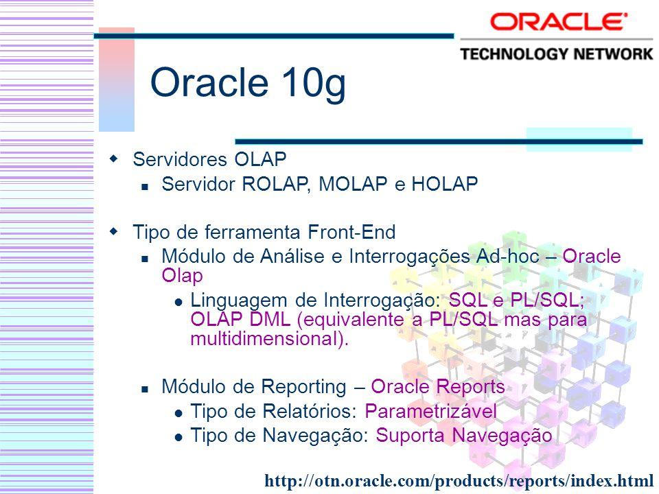 Oracle 10g Servidores OLAP Servidor ROLAP, MOLAP e HOLAP Tipo de ferramenta Front-End Módulo de Análise e Interrogações Ad-hoc – Oracle Olap Linguagem