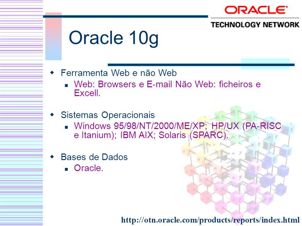 Oracle 10g Ferramenta Web e não Web Web: Browsers e E-mail Não Web: ficheiros e Excell. Sistemas Operacionais Windows 95/98/NT/2000/ME/XP; HP/UX (PA-R