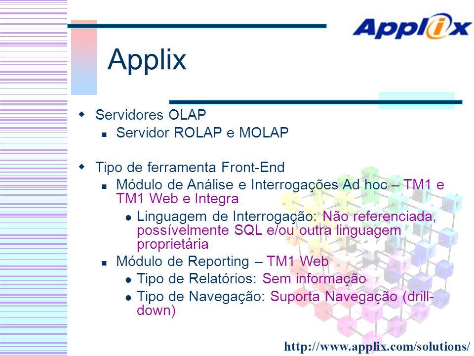 Applix Servidores OLAP Servidor ROLAP e MOLAP Tipo de ferramenta Front-End Módulo de Análise e Interrogações Ad hoc – TM1 e TM1 Web e Integra Linguage