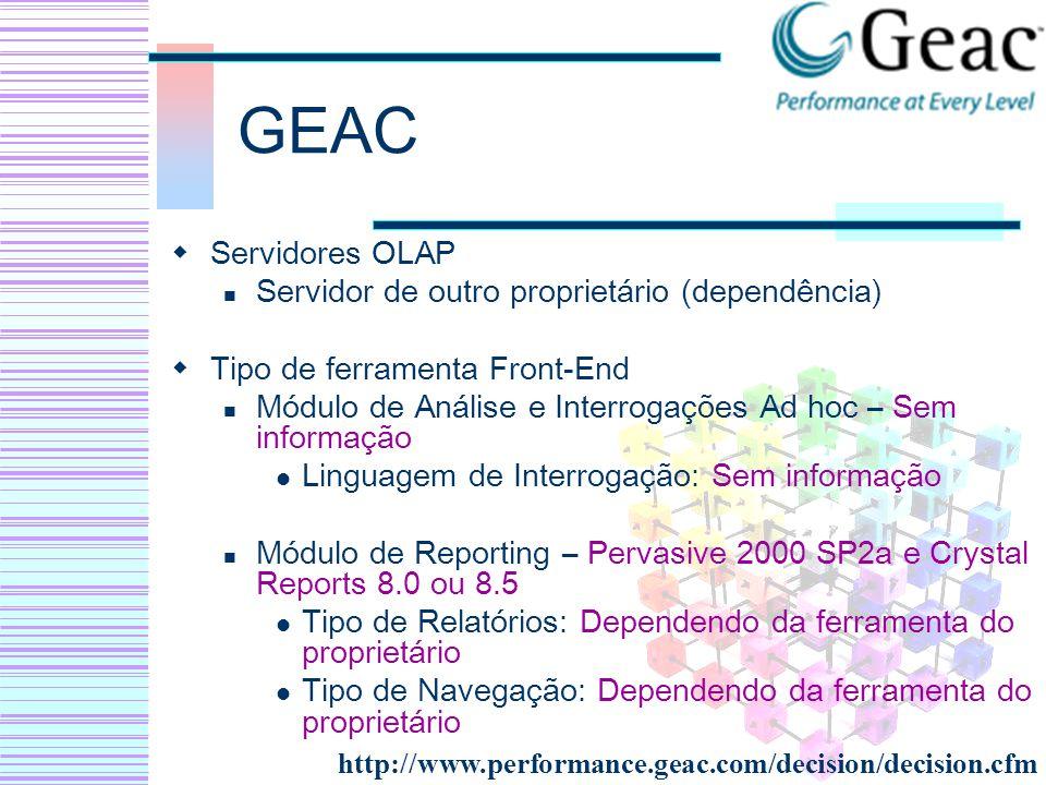 GEAC Servidores OLAP Servidor de outro proprietário (dependência) Tipo de ferramenta Front-End Módulo de Análise e Interrogações Ad hoc – Sem informaç