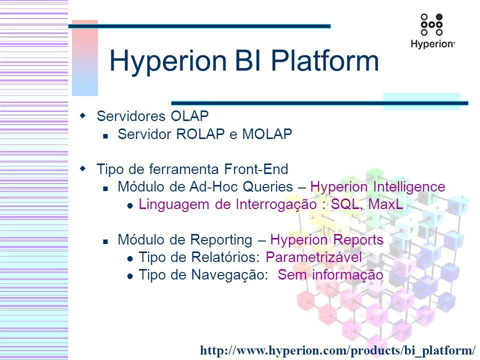 Hyperion BI Platform Servidores OLAP Servidor ROLAP e MOLAP Tipo de ferramenta Front-End Módulo de Ad-Hoc Queries – Hyperion Intelligence Linguagem de