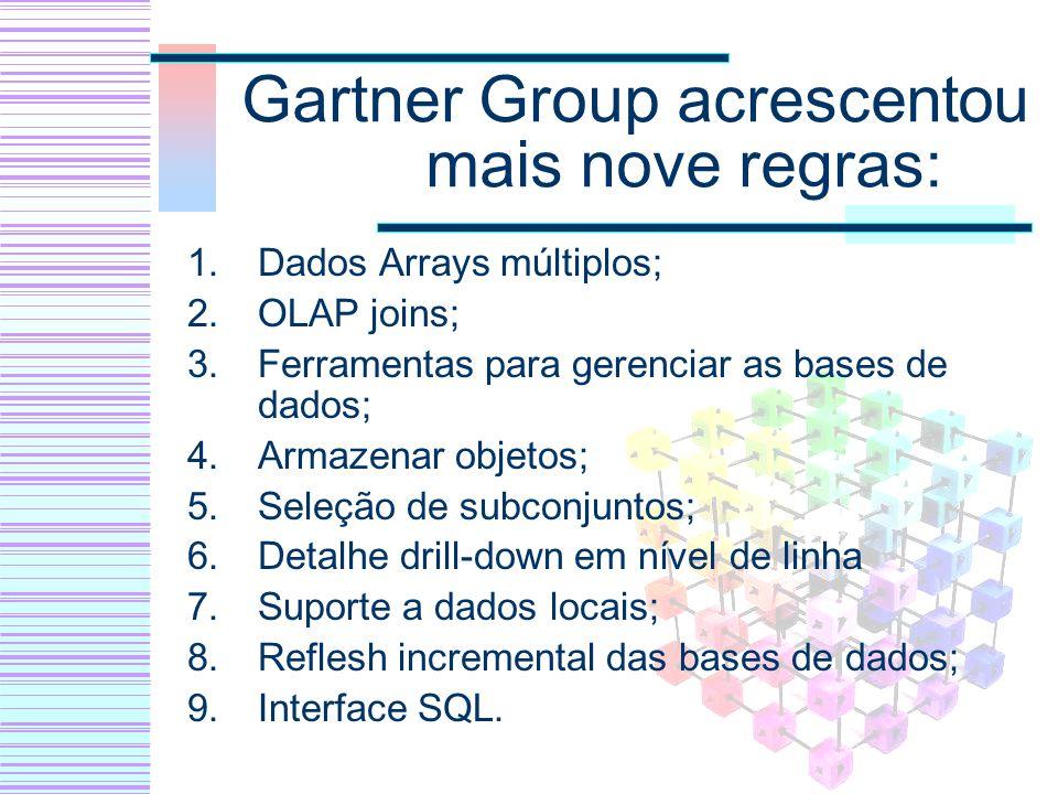 Gartner Group acrescentou mais nove regras: 1.Dados Arrays múltiplos; 2.OLAP joins; 3.Ferramentas para gerenciar as bases de dados; 4.Armazenar objeto