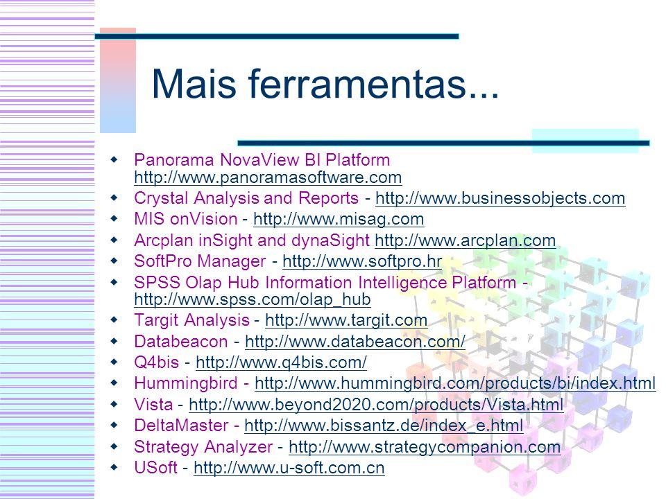Mais ferramentas... Panorama NovaView BI Platform http://www.panoramasoftware.com http://www.panoramasoftware.com Crystal Analysis and Reports - http: