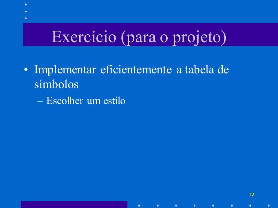 12 Exercício (para o projeto) Implementar eficientemente a tabela de símbolos –Escolher um estilo