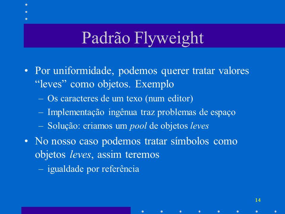 14 Padrão Flyweight Por uniformidade, podemos querer tratar valores leves como objetos. Exemplo –Os caracteres de um texo (num editor) –Implementação