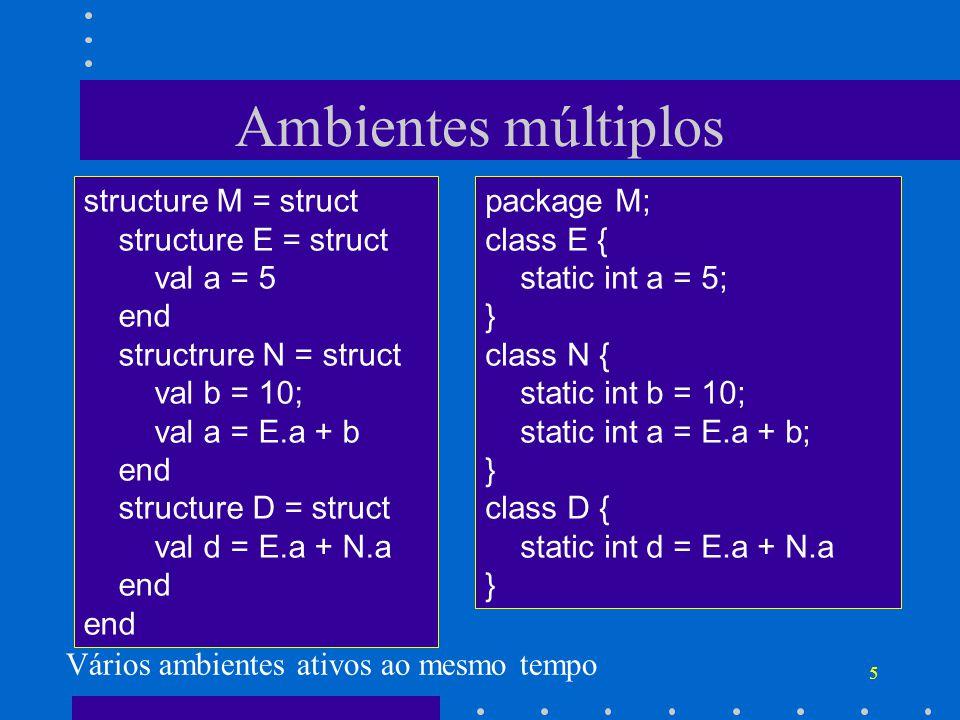 5 Ambientes múltiplos structure M = struct structure E = struct val a = 5 end structrure N = struct val b = 10; val a = E.a + b end structure D = struct val d = E.a + N.a end package M; class E { static int a = 5; } class N { static int b = 10; static int a = E.a + b; } class D { static int d = E.a + N.a } Vários ambientes ativos ao mesmo tempo
