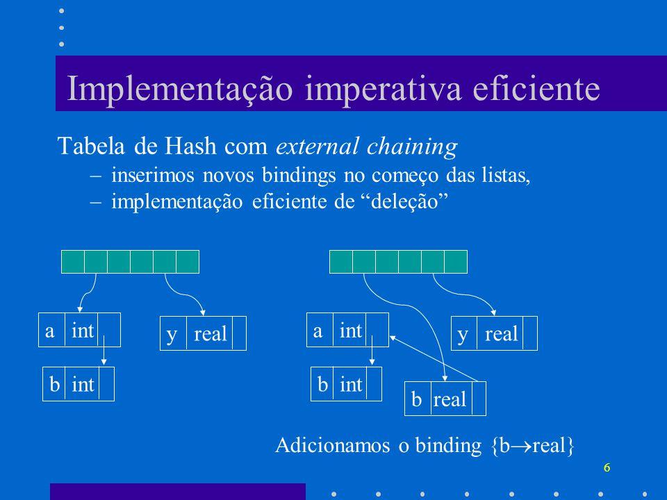 6 Implementação imperativa eficiente Tabela de Hash com external chaining –inserimos novos bindings no começo das listas, –implementação eficiente de deleção a int y real b int a int y real b int b real Adicionamos o binding {b real}