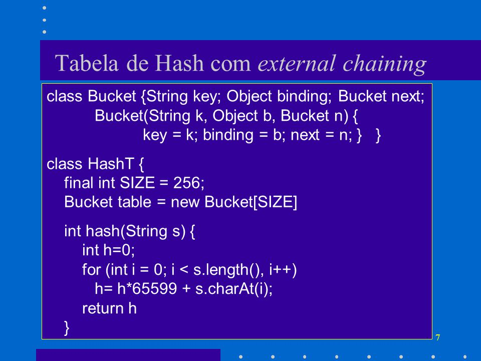 7 Tabela de Hash com external chaining class Bucket {String key; Object binding; Bucket next; Bucket(String k, Object b, Bucket n) { key = k; binding = b; next = n; } } class HashT { final int SIZE = 256; Bucket table = new Bucket[SIZE] int hash(String s) { int h=0; for (int i = 0; i < s.length(), i++) h= h*65599 + s.charAt(i); return h }