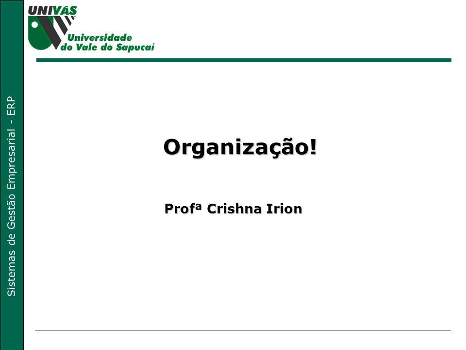 Sistemas de Gestão Empresarial - ERP Organização! Profª Crishna Irion