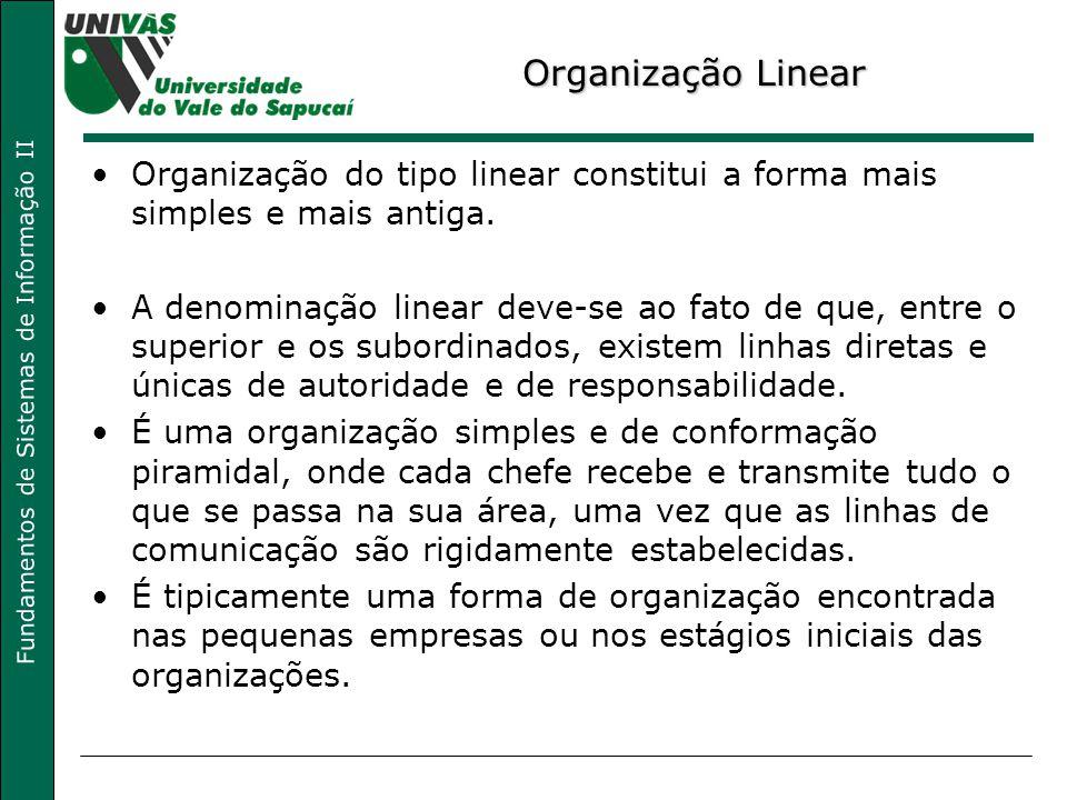 Fundamentos de Sistemas de Informação II Organização Linear Organização do tipo linear constitui a forma mais simples e mais antiga. A denominação lin