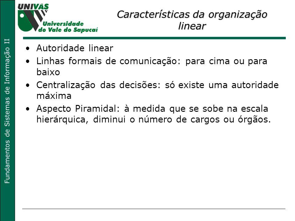 Fundamentos de Sistemas de Informação II Características da organização linear Autoridade linear Linhas formais de comunicação: para cima ou para baix